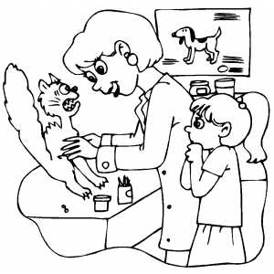 Scared Cat At Veterinarian Office Coloring Page