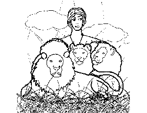 Daniel and Lions coloring page