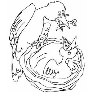 Bird And Chick coloring page