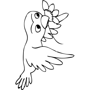 Bird Carries Flower coloring page