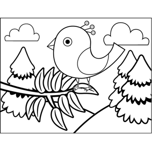 Bird in Leaves coloring page