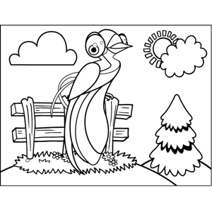 Bird on Fence coloring page