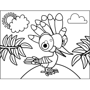 Bird with Plumage coloring page