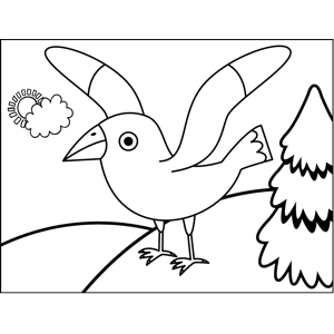 Bird with Raised Wings coloring page