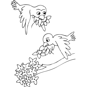 Birds Carrying Flowers coloring page