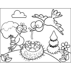 Birds Googly Eyes coloring page
