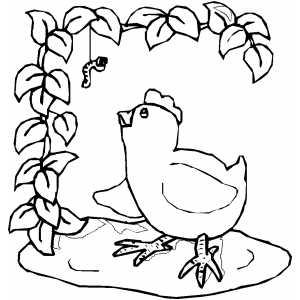 Chick And Worm coloring page