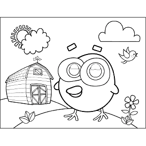 Chick Googly Eyes coloring page