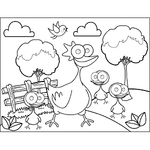 Chicken Googly Eyes coloring page