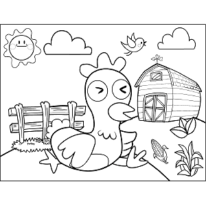 Chicken Sleeping coloring page