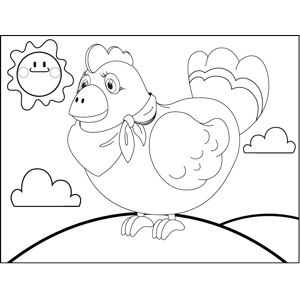 Chicken Wearing Kerchief coloring page