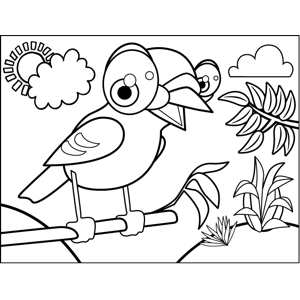 Chirping Bird on Branch coloring page