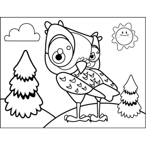 Coy Owl coloring page