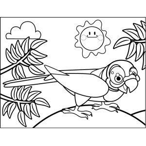 Crouching Parrot coloring page