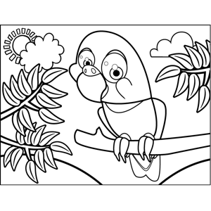 Curious Parrot coloring page