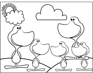 Cute Ducks coloring page