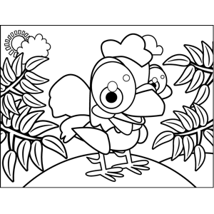 Excited Rooster coloring page