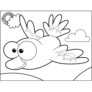 Happy Flying Bird coloring page
