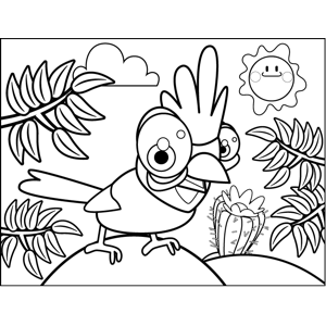 Happy Parakeet coloring page