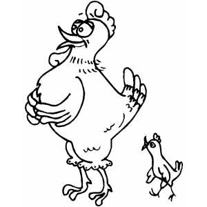 Hen With Chick coloring page