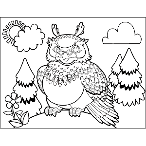Horned Owl coloring page
