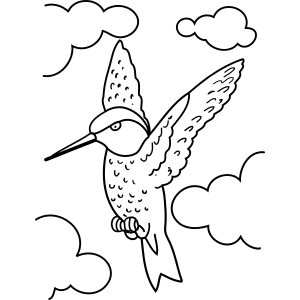 Hummingbird and Clouds coloring page