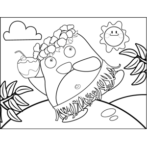 Luau Penguin with Lei coloring page