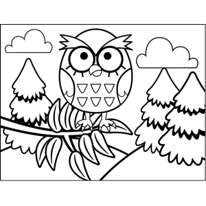 Owl in Leaves coloring page