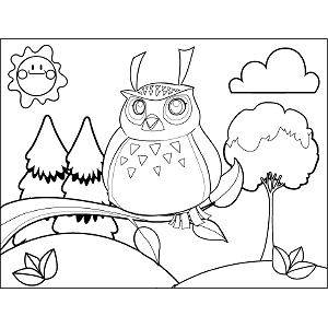 Owl on Branch coloring page