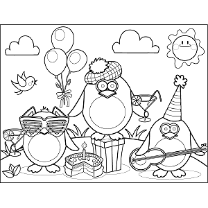Party Birds coloring page
