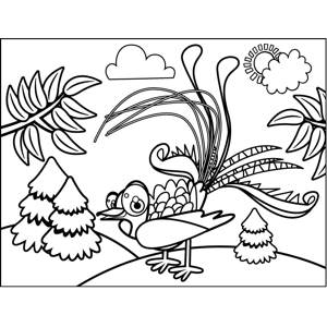 Peacock with Plumage coloring page