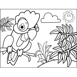 Rooster on a Branch coloring page