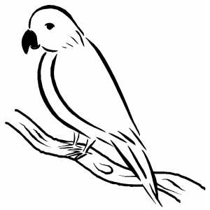 Sad Bird Sitting On Branch coloring page