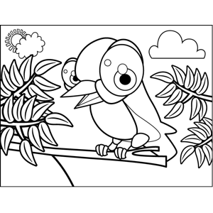Singing Bird on Branch coloring page