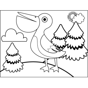 Strutting Pelican coloring page