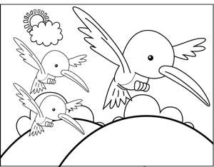 Three Birds coloring page