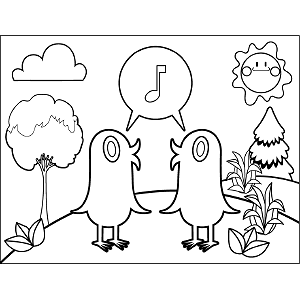 Two Birds Singing coloring page