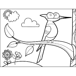 Woodpecker in Tree coloring page