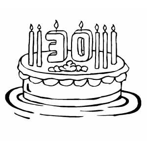 30th Birthday Cake With 7 Candles Coloring Page