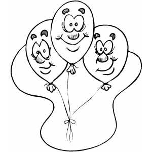 Balloons Faces coloring page