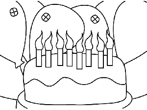 Birthday Cake Balloons coloring page