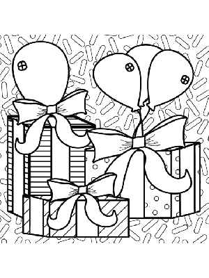 Birthday Presents Balloons coloring page
