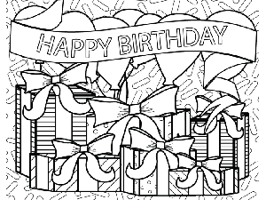 Birthday Presents Balloons Banner coloring page