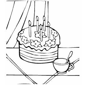 Cake With Cup coloring page