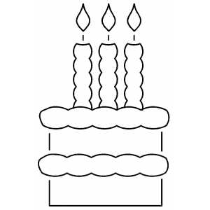 Cake With Three Candles coloring page