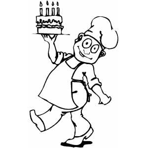 Chef With Cake coloring page