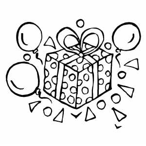 Gift And Balloons coloring page