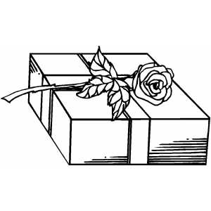 Gift And Rose coloring page