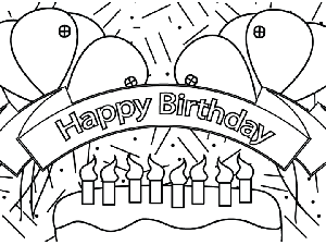 Happy Birthday Banner coloring page
