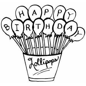 Happy Birthday Lollipops coloring page